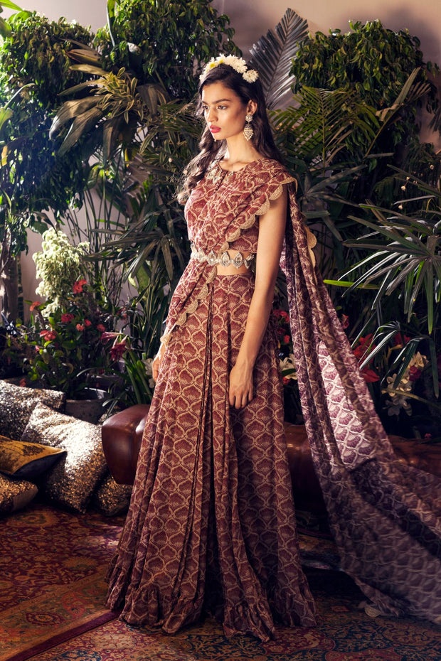 Maroon Leaf Print Frill Saree Set with Embroidered Belt