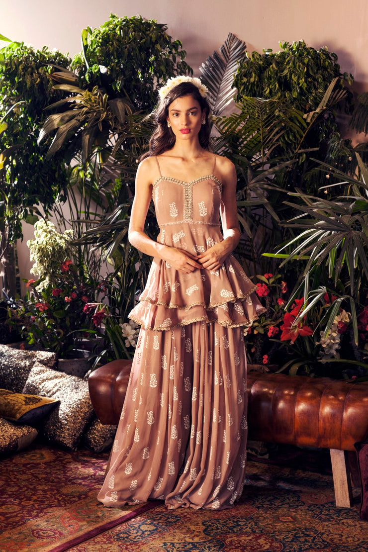 Bhumika Sharma Beige Printed Double Peplum Top With Palazzo