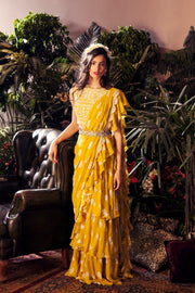 Yellow Printed Layered Sari Set With Embroidered Belt