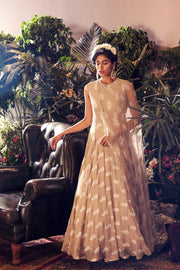 Light Beige Printed Anarakali with Attached Embroidered Cape