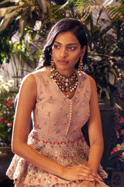 Nude Embroidered Peplum Top with Skirt - BHUMIKA SHARMA