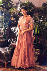 Pink Geometric Embroidered Gown with Embellished Belt - BHUMIKA SHARMA