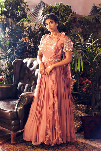 Pink Geometric Embroidered Gown with Embellished Belt