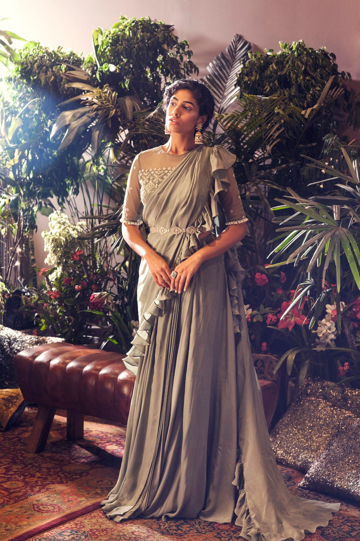 Sage Green Ruffle Saree Set - BHUMIKA SHARMA