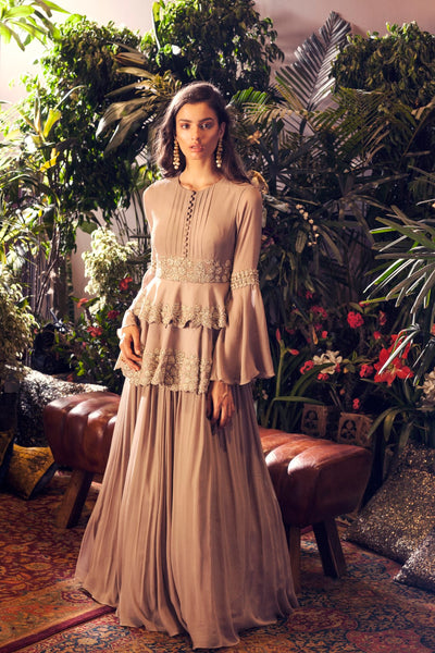 Grey Double Peplum Embellished Anarkali Gown