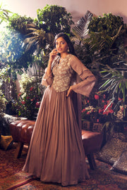 Grey Embroidered Jacket Style Anarkali Gown
