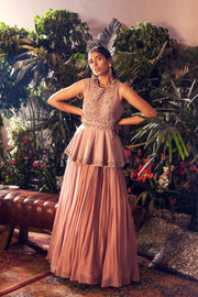 Lilac Embroidered Peplum Anarkali Gown - BHUMIKA SHARMA