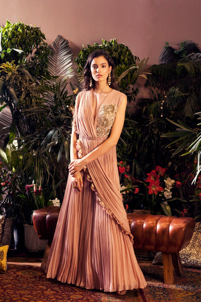 Nude Pink Embroidered Gown with Embellished Belt
