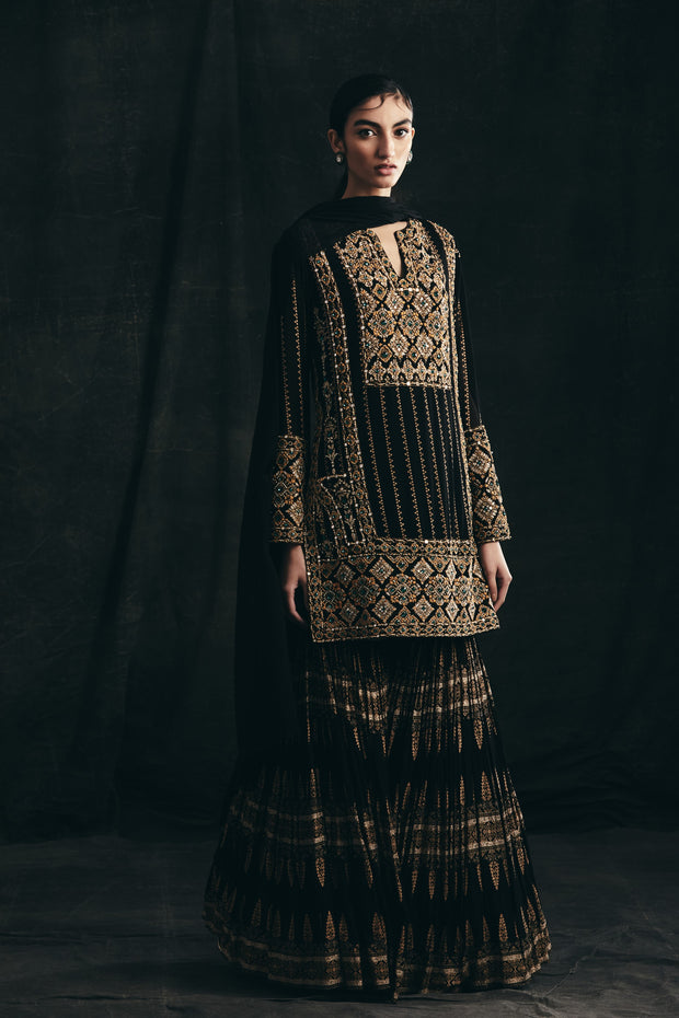 Black Nukta Print Embroidered Kurta With Gold Persian Print Sharara & Dupatta