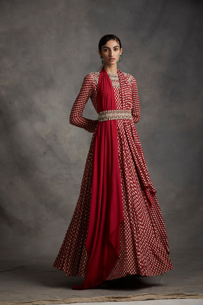 Red Bindu Print Anarkali With Embroidered Neckline & Belt