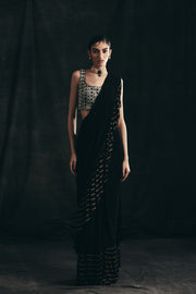 Black Ruffle Saree With Embroidered Blouse