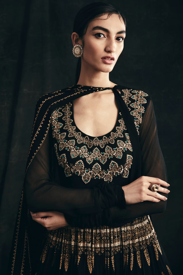 Black & Gold Persian Print Embroidered Peplum Kurta & Sharara Set