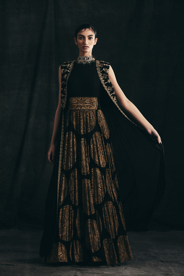 Black Ambi Circle Print Anarkali With Embroidered Long Cape