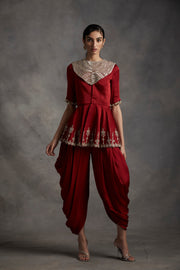 Red Embroidered Peplum Top With Dhoti Pants