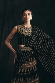 Black & Gold Persian Print Saree With Embroidered Nukta Print Blouse & Belt