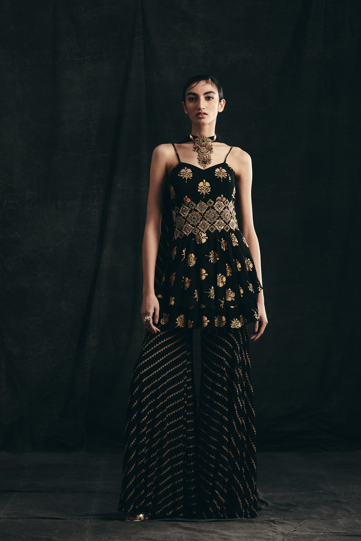 Black & Gold Flower Print Double Peplum Top With Nukta Print Flared Pants & Hand Embroidered Broad Waist Belt
