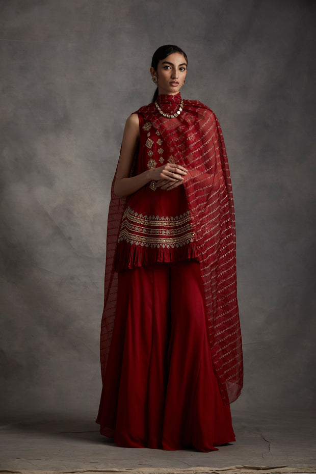 Red Embroidered Frill Kurta With Flared Pants & Nukta Print Dupatta