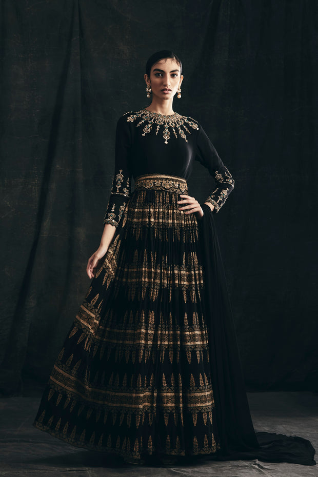Black & Gold Persian Print Anarkali With Embroidered Sleeves, Neckline & Belt