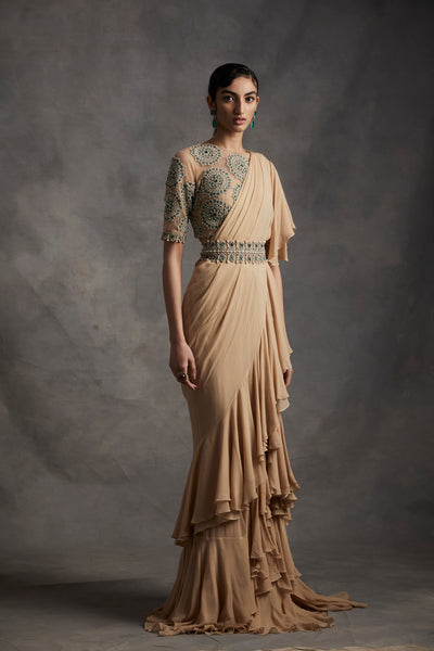 Beige Pre-Stitched Frill Saree With Pearl & Stone Work Blouse & Belt