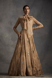 Beige Ambi Circle Print Belted Anarkali Gown