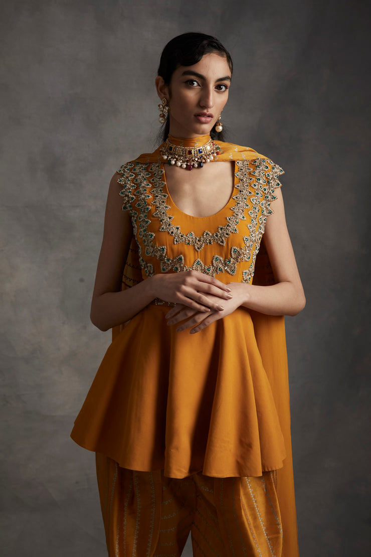 Haldi Embroidered Peplum Kurta With Nukta Print Dhoti Pants & Dupatta