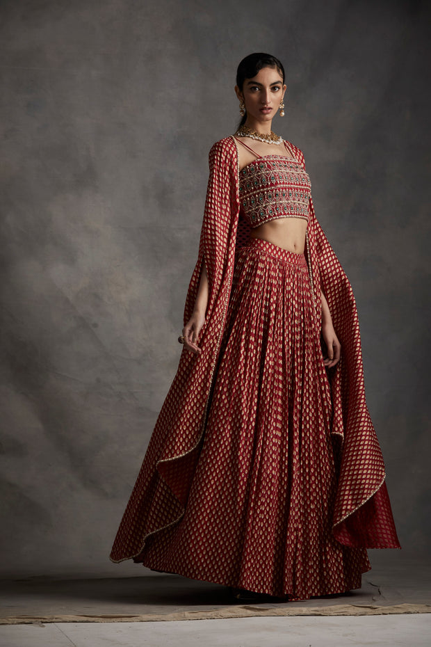 Red Bindu Print Long Cape, Skirt & Embroidered Bustier