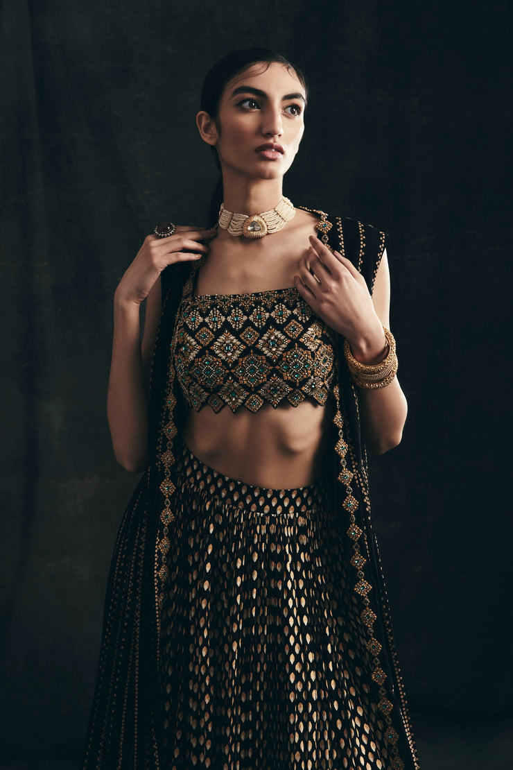 Nukta Print Embroidered Cape, Bindu Print Skirt & Hand Embroidered Bustier
