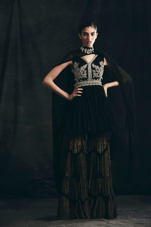 Black Embroidered Peplum Kurta With Gold Ambi Circle Print Sharara
