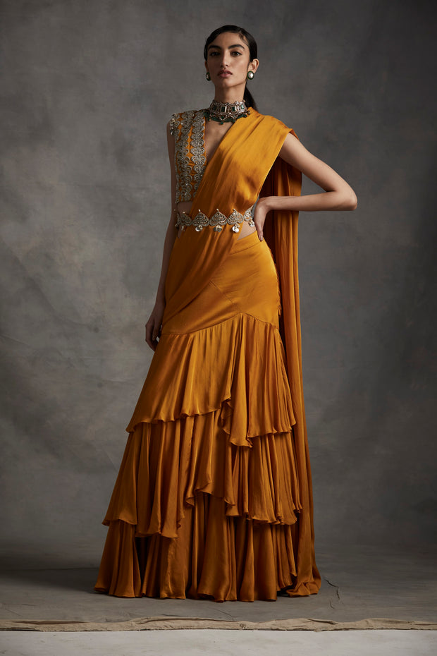Haldi Pre-stitched Layered Saree With Embroidered Blouse