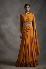 Haldi Pre-Stitched Pleated Saree With Embroidered Blouse & Belt