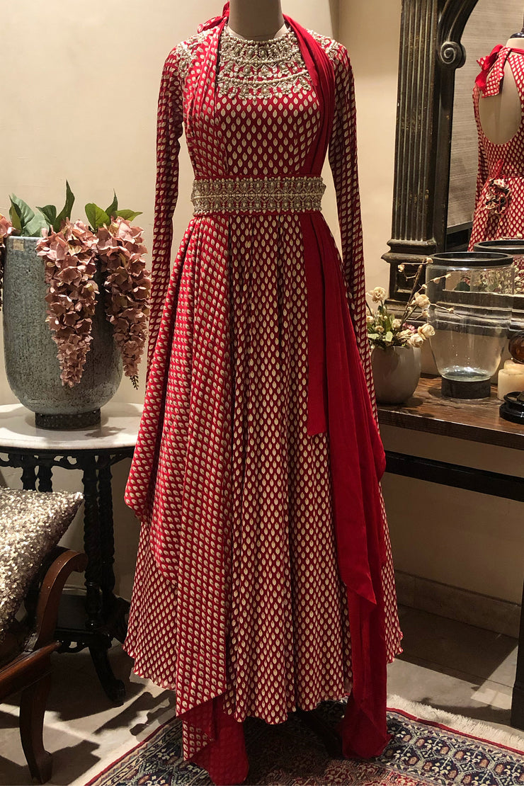 Red Bindu Print Embroidered Anarkali With A Draped Dupatta & Handcrafted Pearl Work Belt