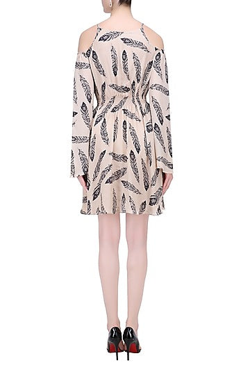 Beige Feather Print Short Dress