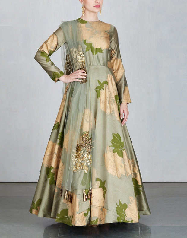 Olive Foil Printed Anarkali Set