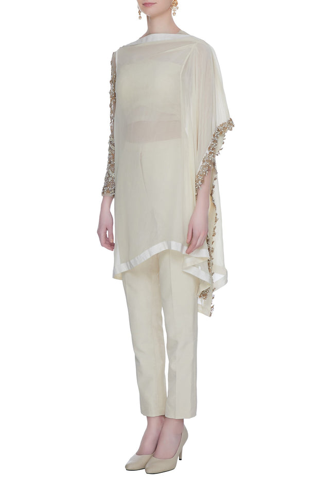 Ivory Asymmetric Kurta with Pants