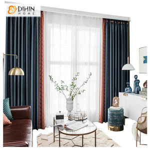 DIHINHOME Home Textile European Curtain Copy of DIHIN HOME European Retro Luxury Jacquard,Blackout Curtains Grommet Window Curtain for Living Room ,52x84-inch,1 Panel