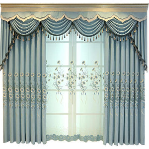 DIHINHOME Home Textile European Curtain DIHIN HOM Garden Green Embroidered Valance ,Blackout Curtains Grommet Window Curtain for Living Room ,52x84-inch,1 Panel