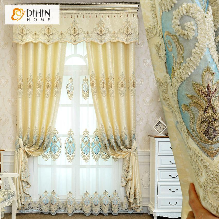 DIHINHOME Home Textile European Curtain DIHIN HOME Beige and Light Blue Embroidered,Blackout Curtains Grommet Window Curtain for Living Room ,52x84-inch,1 Panel