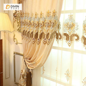 DIHINHOME Home Textile European Curtain DIHIN HOME Beige Elegant Embroidered Valance ,Blackout Curtains Grommet Window Curtain for Living Room ,52x84-inch,1 Panel