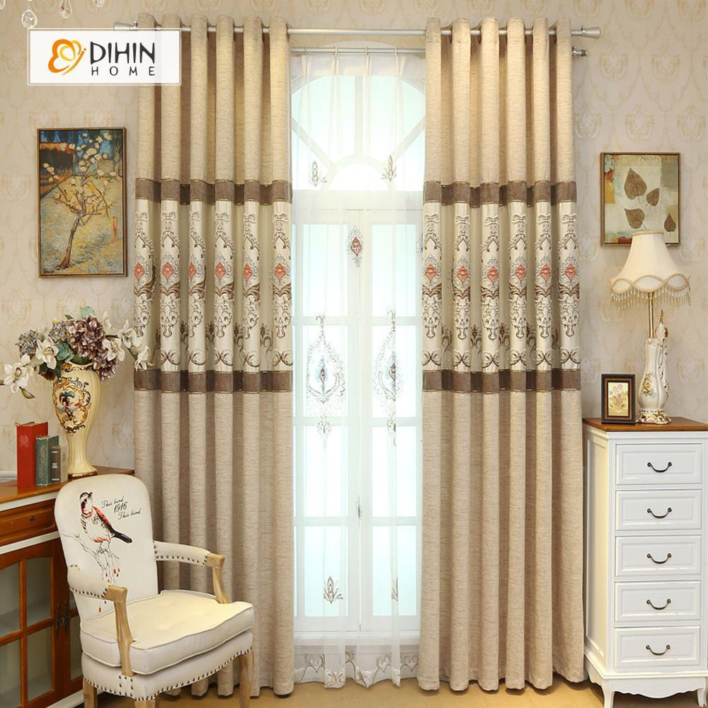 DIHINHOME Home Textile European Curtain DIHIN HOME Beige Embroidered Elegant ,Blackout Curtains Grommet Window Curtain for Living Room ,52x84-inch,1 Panel