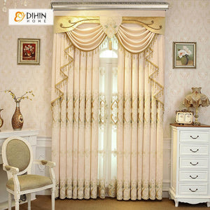 DIHINHOME Home Textile European Curtain DIHIN HOME Beige Embroidered Luxurious Valance ,Blackout Curtains Grommet Window Curtain for Living Room ,52x84-inch,1 Panel