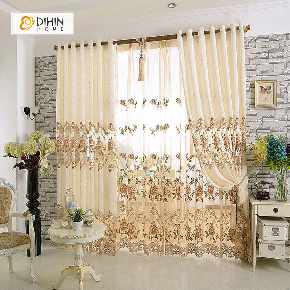 DIHINHOME Home Textile European Curtain DIHIN HOME Beige Embroidered Noble ,Blackout Curtains Grommet Window Curtain for Living Room ,52x84-inch,1 Panel