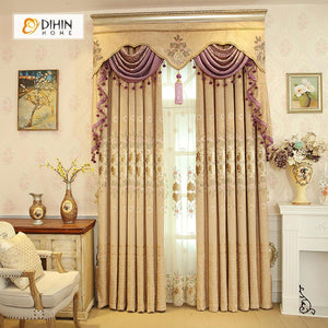 DIHINHOME Home Textile European Curtain DIHIN HOME Beige Embroidered Purple Valance ,Blackout Curtains Grommet Window Curtain for Living Room ,52x84-inch,1 Panel