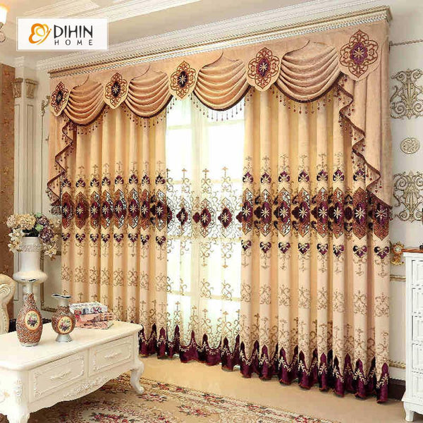 DIHIN HOME Beige Exquisite Embroidered Valance ,Blackout Curtains Grommet  Window Curtain for Living Room ,52x84-inch,1 Panel
