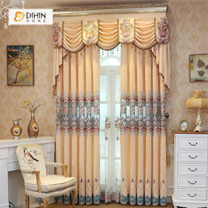 DIHINHOME Home Textile European Curtain DIHIN HOME Beige Exquisite Luxurious Embroidered Valance ,Blackout Curtains Grommet Window Curtain for Living Room ,52x84-inch,1 Panel