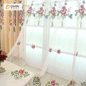 DIHINHOME Home Textile European Curtain DIHIN HOME Beige Flowers Exquisite Luxurious Embroidered Valance ,Blackout Curtains Grommet Window Curtain for Living Room ,52x84-inch,1 Panel