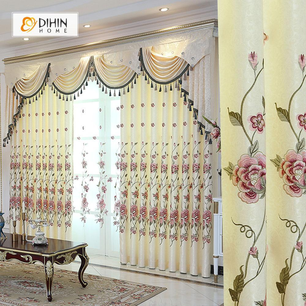 DIHINHOME Home Textile European Curtain DIHIN HOME Beige High Quality Embroidered Valance ,Blackout Curtains Grommet Window Curtain for Living Room ,52x84-inch,1 Panel