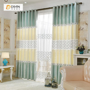 DIHINHOME Home Textile European Curtain DIHIN HOME Beige Leaf Embroidered,Blackout Grommet Window Curtain for Living Room ,52x63-inch,1 Panel