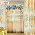 DIHINHOME Home Textile European Curtain DIHIN HOME Beige Luxurious  Embroidered Valance ,Blackout Curtains Grommet Window Curtain for Living Room ,52x84-inch,1 Panel