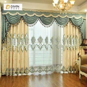 DIHINHOME Home Textile European Curtain DIHIN HOME Beige Luxury Exquisite Embroidered Valance ,Blackout Curtains Grommet Window Curtain for Living Room ,52x84-inch,1 Panel