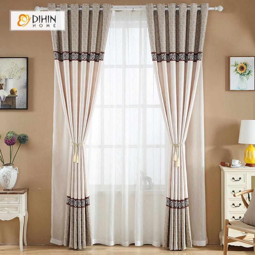 DIHINHOME Home Textile European Curtain DIHIN HOME Beige Middle,Embroidered,Blackout Grommet Window Curtain for Living Room ,52x63-inch,1 Panel